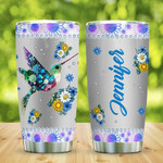 Personalized Metal Style Flower Jewelry Hummingbird Stainless Steel Tumbler, Tumbler Cups For Coffee/Tea, Great Customized Gifts For Birthday Christmas Thanksgiving