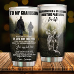 Personalized To My Grandson Tumbler Granffather & Grandson Hunting Partners Stainless Steel Vacuum Insulated Double Wall Travel Tumbler With Lid, Tumbler Cups For Coffee/Tea, Perfect Gifts For Grandson