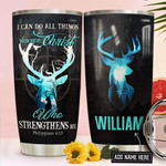 Deer Hunting Faith Personalized Tumbler Cup I Can Do All Things Though Christ Stainless Steel Insulated Tumbler 20 Oz Perfect Gifts For Hunter Great Gifts For Birthday Christmas Thanksgiving
