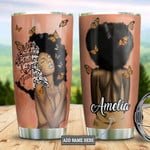 Butterfly Black Women Picture Personalized She's Beautiful Woman Tumbler Cup Stainless Steel Insulated Tumbler 20 Oz Best Gifts For Girls Great Gifts For Birthday Christmas Coffee/ Tea Tumbler