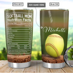 Personalized Softball Mom Facts Stainless Steel Tumbler, Tumbler Cups For Coffee/Tea, Great Customized Gifts For Birthday Christmas Thanksgiving
