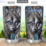 Wolf Portrait Personalized Tumbler Cup Stainless Steel Vacuum Insulated Tumbler 20 Oz Great Customized Gifts For Birthday Christmas Thanksgiving Gifts For Wolf Lovers Coffee/ Tea Tumbler