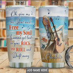 Acoustic Guitar On Beach Personalized Tumbler Cup Give Me The Beat And Free My Soul Stainless Steel Vacuum Insulated Tumbler 20 Oz  Best Gifts For Guitarist On Birthday Christmas Thanksgiving