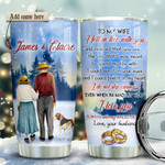 Old Couple With Beagle Personalized Tumbler Cup To My Wife I Fell In Love With You Stainless Steel Vacuum Insulated Tumbler 20 Oz Best Gifts For Wife On Valentine Anniversary Birthday