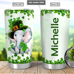 Irish Elephant Personalized Tumbler Cup Stainless Steel Insulated Tumbler 20 Oz Best Gifts For Birthday Christmas Thanksgiving St Patrick's Day Great Gifts For Elephant Lovers Coffee/ Tea Tumbler