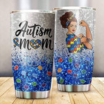Glitter Autism Mom Tumbler Stainless Steel Vacuum Insulated Double Wall Travel Tumbler With Lid, Tumbler Cups For Coffee/Tea, Perfect Gifts For Autism Mom On Mother's Day Birthday Chrismas