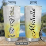 Softball Diamond Personalized, Stainless Steel Tumbler, Peace Love, 20 Oz Insulated Tumbler Cup, Perfect Gifts For Softball Lovers, Tumbler Cups For Coffee/Tea, Great Gifts For Birthday Christmas