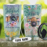 Personalized Flowers Camera Tumbler Cup, Just A Girl Who Loves her Camera, Stainless Steel Insulated Tumbler 20 Oz, Coffee/ Tea Tumbler, Great Gifts For Birthday Christmas Thanksgiving