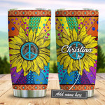 Sunflower Hippie Tie Dye Personalized Tumbler Cup, Stainless Steel Vacuum Insulated Tumbler 20 Oz, Perfect Gifts For Hippie Lovers - Best Gifts For Birthday Christmas, Tumbler For Coffee/ Tea