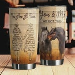 Personalized Horse You And Me Stainless Steel Vacuum Insulated Double Wall Travel Tumbler With Lid, Tumbler Cups For Coffee/Tea, Perfect Gifts For Couple On Birthday Valentine Anniversary
