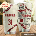 Personalized Baseball Tumbler Be Strong And Courageous Best Custom Name Gifts For Baseball Players Baseball Lovers 20 Oz Sport Bottle Stainless Steel Vacuum Insulated Tumbler