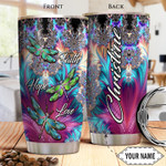 Faith Dragonfly Personalized Tumbler Cup Faith Hope Love Stainless Steel Insulated Tumbler 20 Oz Gift Ideas For Birthday Christmas Thanksgiving Coffee/ Tea Tumbler With Lid