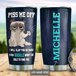 Personalized Cat Image Tumbler Cup Piss Me Off Stainless Steel Vacuum Insulated Tumbler 20 Oz Best Gifts For Cat Lovers Great Gifts For Birthday Christmas Thanksgiving Coffee/ Tea Tumbler