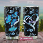 Personalized Blue Butterfly, Stainless Steel Vacuum Insulated, 20 Oz Tumbler Cups For Coffee/Tea, Great Customized Gifts For Birthday Christmas Thanksgiving, Perfect Gifts For Butterfly Lovers