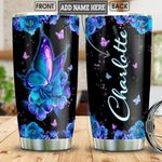 Blue Flower Butterfly Personalized Tumbler Cup Stainless Steel Vacuum Insulated Tumbler 20 Oz Coffee/ Tea Tumbler With Lid Perfect Customized Gifts For Birthday Christmas Thanksgiving