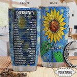 Personalized Bible Calling, Emergency Bible Number, Stainless Steel Tumbler Perfect Gifts For Sunflower Lover 20 Oz Tumbler Cups For Coffee/Tea, Gifts For Birthday Christmas Thanksgiving