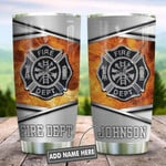 Metal Style Fire Dept Personalized Tumbler Cup Stainless Steel Vacuum Insulated Tumbler 20 Oz Coffee/ Tea Tumbler With Lid Great Gifts For Birthday Christmas Thanksgiving Unique Travel Tumbler