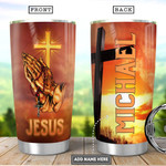 Personalized Jesus Faith Cross Orange Tumbler Cup Stainless Steel Insulated Tumbler 20 Oz Coffee/ Tea Tumbler With Lid Unique Gifts For Friends Relatives On Birthday Christmas Thanksgiving