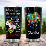 Autism Unicorn Puzzle Style Heart Shaped Personalized Tumbler Cup Great Kid Stainless Steel Vacuum Insulated Tumbler 20 Oz Great Customized Gifts For Birthday Christmas Thanksgiving