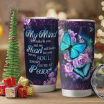 Faith Rose Butterfly Tumbler Cup My Mind Still Talks To You Stainless Steel Vacuum Insulated Tumbler 20 Oz Great Gifts For Birthday Christmas Thanksgiving Tumbler For Coffee/ Tea With Lid