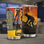 Personalized Cycling Tumbler I Ride To Feel Strong Stainless Steel Vacuum Insulated Double Wall Travel Tumbler With Lid, Tumbler Cups For Coffee/Tea, Perfect Gifts For Birthday Christmas Thanksgiving