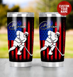 Personalized Ice Hockey Player Shadow On American Flag Background Stainless Steel Tumbler, Tumbler Cups For Coffee/Tea, Great Customized Gifts For Birthday Christmas Thanksgiving