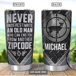 Personalized Old Deer Hunter Tumbler Cup Never Underestimate An Old Man Stainless Steel Insulated Tumbler 20 Oz Perfect Gifts For Hunter Great Gifts For Birthday Christmas Thanksgiving