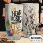 Guitar Personalized Tumbler Cup You Hear Music You Feel Bass Stainless Steel Vacuum Insulated Tumbler 20 Oz  Best Gifts For Guitarist On Birthday Christmas Thanksgiving Coffee/ Tea Tumbler