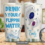 Personalized Dolphin Jewelry Style Drink Your Water Stainless Steel Tumbler, Tumbler Cups For Coffee/Tea, Great Customized Gifts For Birthday Christmas Thanksgiving