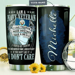 Navy Veteran Personalized Tumbler Cup I Love Freedom I Don't Care Stainless Steel Vacuum Insulated Tumbler 20 Oz Best Gifts For Army Soldiers Birthday Gifts Christmas Gifts For Veterans