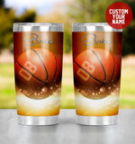 Personalized Sparkle Basketball Ball Stainless Steel Tumbler, Tumbler Cups For Coffee/Tea, Great Customized Gifts For Birthday Christmas Thanksgiving