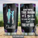 Horse Barn Lose My Mind Personalized Mandala Tumbler Cup Stainless Steel Insulated Tumbler 20 Oz Travel Tumbler With Lid Great Birthday Gifts For Horse Lovers Unique Christmas Gifts