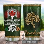 Irish Roots Canadian Personalized Tumbler Cup, Fingerprint, Stainless Steel Insulated Tumbler 20 Oz, Coffee/ Tea Tumbler With Lid, Perfect Gifts For Birthday Christmas Thanksgiving
