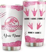 Custom Name MotherHood Is A Walk In The Park Tumbler Best Gift For Mum Dad From Son Daughter Grandpa Grandma Gift From Grandkids Bonus Daddy Step Mother Gift From Step Child,