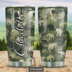 Elephant Camouflage Personalized Tumbler Cup Stainless Steel Insulated Tumbler 20 Oz Great Gifts For Elephant Lovers  Best Gifts For Birthday Christmas Thanksgiving Coffee/ Tea Tumbler