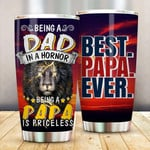 Best Papa Ever Dad Lion Gift Stainless Steel Tumbler, Tumbler Cups For Coffee/Tea, Great Customized Gifts For Birthday Christmas Thanksgiving