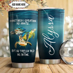 Personalized Sea Turtle Tumbler Cup Sometimes I Question My Sanity Blue Stainless Steel Insulated Tumbler 20 Oz Best Gifts For Birthday Christmas Thanksgiving Tumbler For Camping Travelling