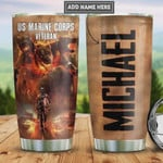 Personalized Bulldog Marine Corps Veteran Tumbler Cup, Stainless Steel Vacuum Insulated Tumbler 20 Oz, Great Gifts For Birthday Christmas Thanksgiving, Gifts For Dog Lovers, For Marine Military