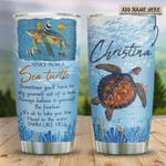 Advice From Sea Turtle Personalized Tumbler Cup Stainless Steel Vacuum Insulated Tumbler 20 Oz Best Gifts For Turtle Lovers On Birthday Christmas Thanksgiving Tumbler For Coffee/ Tea With Lid