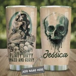 Personalized Mermaid Skull Tumbler Cup, Flirty Dirty Inked Curvy, Stainless Steel Vacuum Insulated Tumbler 20 Oz, Best Gifts For Horror Lovers, Birthday Halloween Gifts, Coffee/ Tea Tumbler