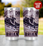 Personalized Ice Hockey Ice Skates And Hockey Stick In Snow Stainless Steel Tumbler, Tumbler Cups For Coffee/Tea, Great Customized Gifts For Birthday Christmas Thanksgiving