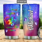 Personalized  I'm A Proud Daughter Of A Wonderful Dad In Heaven Custom Name Tumbler Perfect Gifts For Dad In Heaven Father's Day 20 Oz Sport Bottle Stainless Steel Vacuum Insulated Tumbler