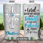 Personalized Medical Staffs Under God Jewelry Style Tumbler Cup Lord Guide My Hands Stainless Steel Vacuum Insulated Tumbler 20 Oz Great Customized Gifts For Birthday Christmas Thanksgiving