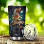 Black Cat Witch Halloween Stainless Steel Tumbler, Tumbler Cups For Coffee/Tea, Great Customized Gifts For Birthday Christmas Halloween Anniversary