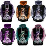 Multi-Color Sugar Skull Girl Cancer Awareness Unisex Hoodie For Birthday, Anniversary