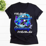 Mom In Heaven Shirt Blue Purple Butterfly Shirt I Have Two Titles Mom And Grammy & I Rock Them Back Cotton T-shirt, Hoodies For Men And Women Mothers Day Gift Happy Mothers Day