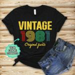 Personalized Vintage Style Original Parts Gifts T-Shirt Short-Sleeves Tshirt Great Customized Gifts For Birthday Christmas Thanksgiving