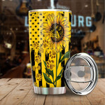 Sunflower American Flag And Paws Tumbler Gifts For Sunflower Lovers, Animal Lovers On Independence Day 20 Oz Sports Bottle Stainless Steel Vacuum Insulated Tumbler