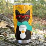 Black Cat And Pumpkin Spice Latte Coffee Tumbler Best Gifts For Cat Lovers, Pet Lovers In Autumn 20 Oz Sports Bottle Stainless Steel Vacuum Insulated Tumbler