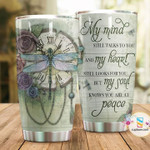 Dragonfly And Clock Vintage Tumbler My Mind Still Talks To You Tumbler Gifts For People In Heaven 20 Oz Sports Bottle Stainless Steel Vacuum Insulated Tumbler